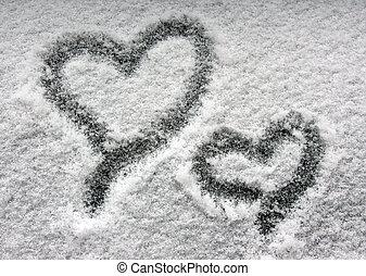 dois, corações, nevado, Janela