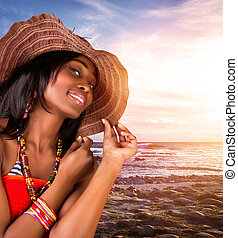 Sexy african woman on the beach - Closeup portrait of...