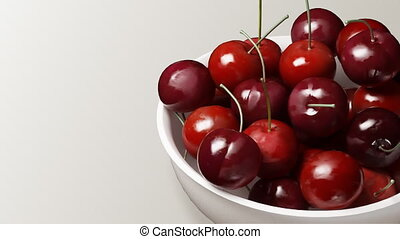 cherry close up white background - Rotation of fresh...