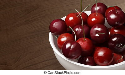 cherry close up wood background - Rotation of fresh cherries