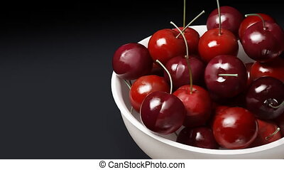 cherry close up black background - Rotation of fresh...