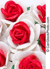 Bouquet of red and white paper roses