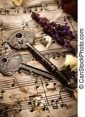 Vintage still life with old keys