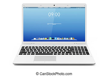 White mobility laptop Interface Isolated on white background...