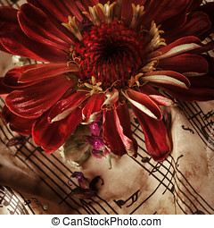 Vintage music notes with red flower