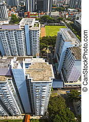 Residential district - High angle view of an old crowded...