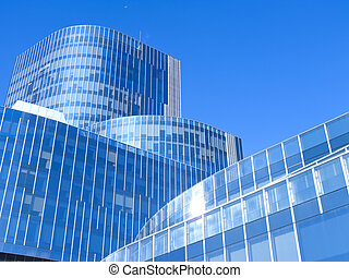 Modern building - Modern office building with blue glass...