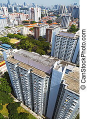 Residential district - High angle dynamic view of an old...