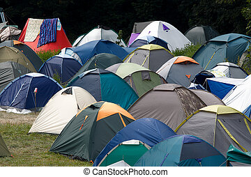 Tents - Many tents at a festival campsite