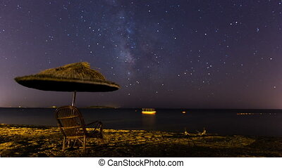 time lapse milky way 3 - time lapse milky way on the sea