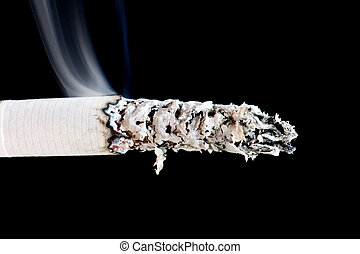 cigarette with smoke - object on black - cigarette with...