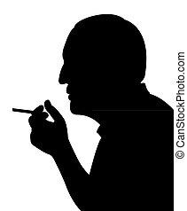 Fumar, hombre, silueta, vector