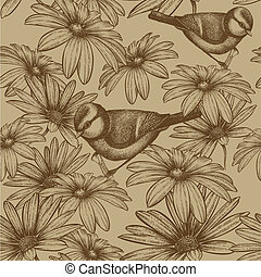 Seamless pattern with flowers and bird titmouse. Vector illustration.