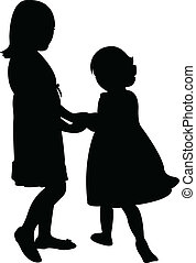 happy sisters playing, silhouette vector