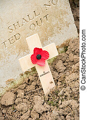 Wooden cross with a poppy for remembrance - Remembrance...