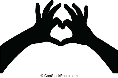 hands silhouettes with hearts