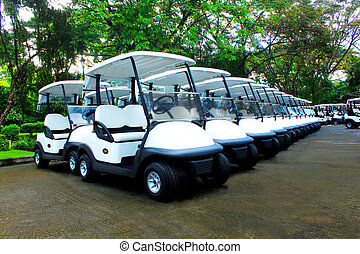 Golf Carts - lines of brand new golf carts in an exclusive...