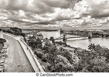 spring panoramic photo of the budapest historic center