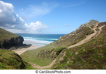 Above Chapel Porth on the Cornish coast path.