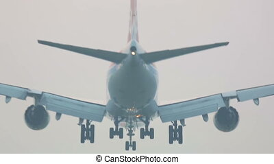 Soft landing - Boeing 747 airliner landing on the runway