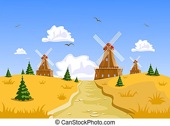 Landscape with windmills in the background