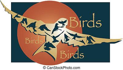 Birds in flight illustration