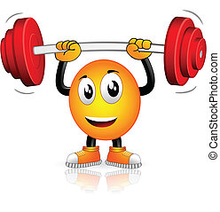 Musculation - Smiley who played sports with weight bar