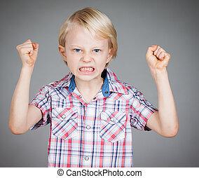 frustrado, enojado, niño