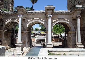 Old gate - Adrian gate of old city Antalya, Turkey
