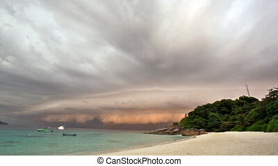 Dark sky before thunderstorm, Similian islands, Thailand