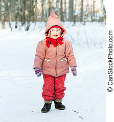 2 years child in winter day