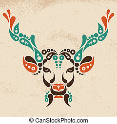 Deer tattoo, symbol decoration illustration. Pattern in...