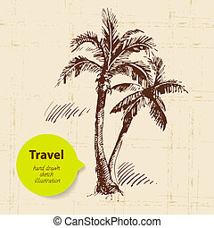 Vintage travel background with palms Hand drawn illustration...