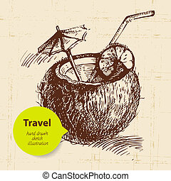 Vintage travel background with coco cocktail. Hand drawn...