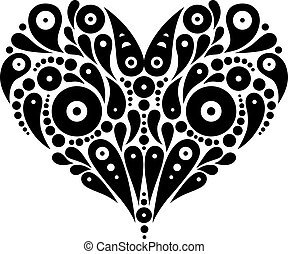 decorativo, corazón, tatuaje