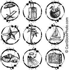 Travel and vacation stamp collection - for your design,...