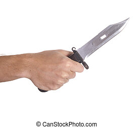 hand holding knife - a hand holding a knife isolated on...
