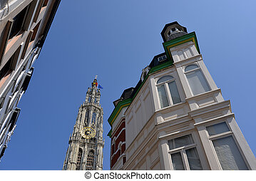 Antwerp - The Cathedral and historic buildings in the city...