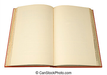 An old hardback book with pages ready for text.