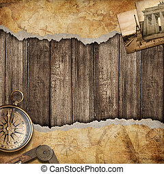 Old map background with compass. Adventure or discovery...