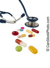 tablets and a stethoscope - colorful pills and stethoscope,...