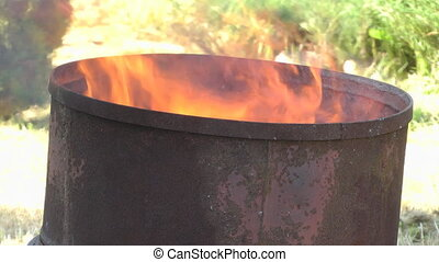 Fire in a barrel.