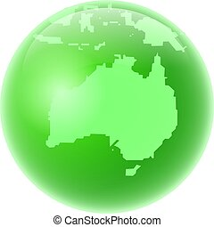 green australia - Green style globe featuring map of...