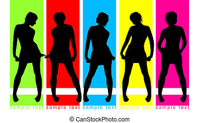 Fashion parade on color background, five female silhouettes