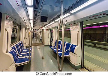 Interior of subway train in spanish metro