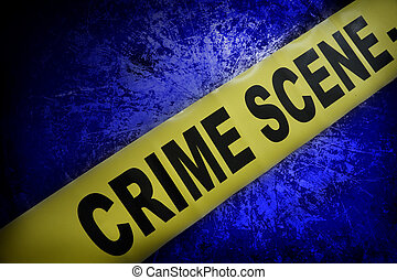 crime scene - yellow crime scene tape on blue textured...