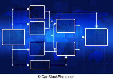 Flow Chart - abstract digital flow chart on the world map