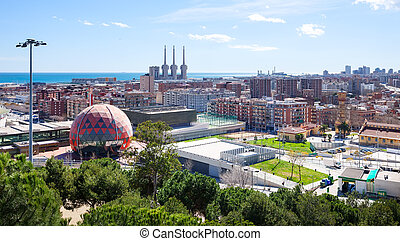 Panoramic view of Badalona and Sant Adria de Besos -...