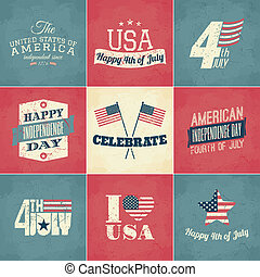 Independence Day Cards Set - A set of nine Independence Day...