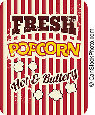 Retro Popcorn Poster - Vintage style poster with popcorn